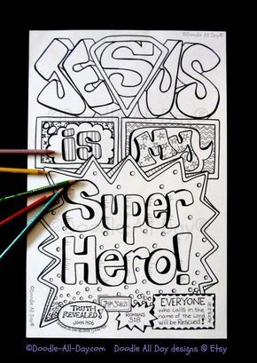 This 85 X 11 Bw Jesus Is My Superhero INSTANT Download Comes In Pdf Format For You To Print On Your Own Printer With 85x11 Paper