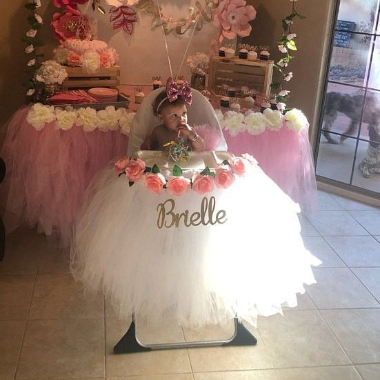 Photo of High Chair Tutu, Girls First Birthday White High Chair Banner with Light Pink Roses, Tulle Chair Skirt Cover, Smash Cake Party Photo Shoot