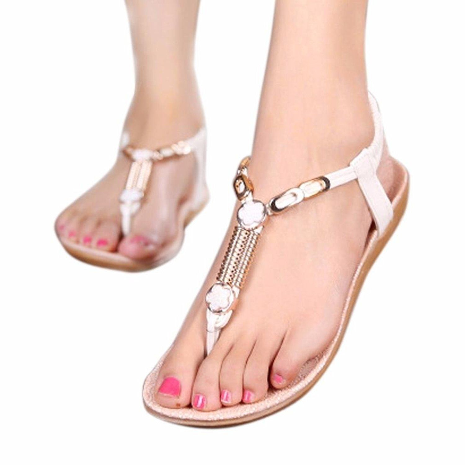Casual Sandals Summer Beaded Bohemian Sandals Beach Shoes Flat Shoes