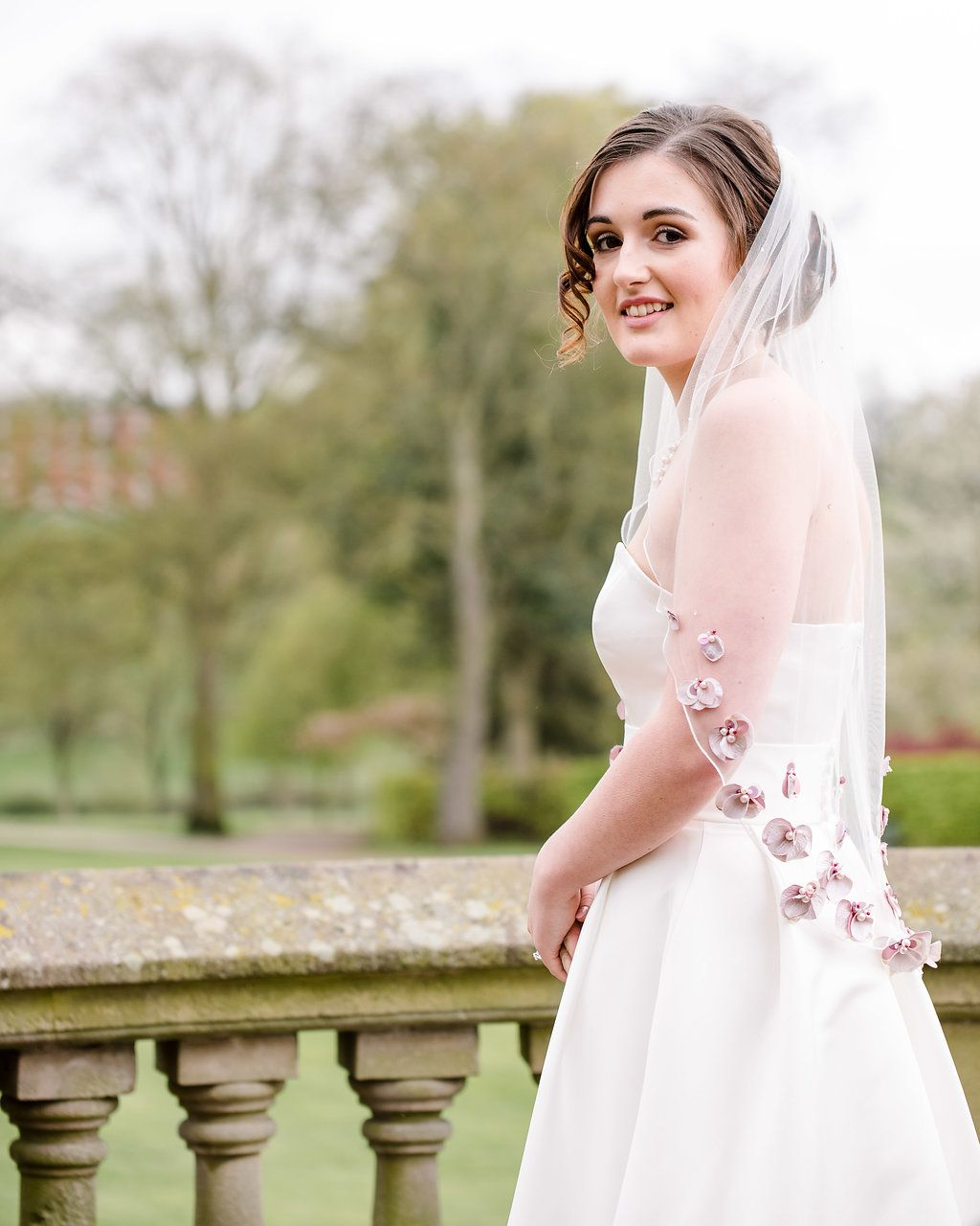Hand embroidered super soft veil in dusky pink colours a tiny touch