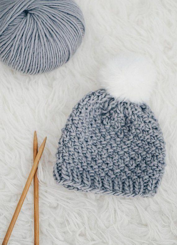 Knitting PATTERN- Moss Stitch Baby Hat  710a5cd1f344