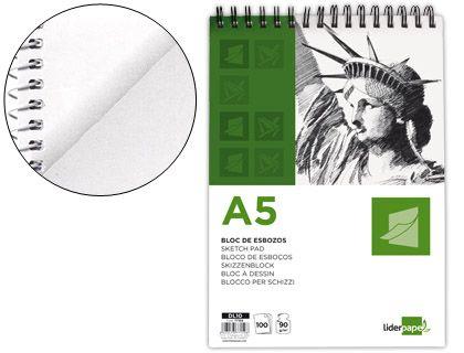 Bloc Dibujo Liderpapel Esbozos Espiral A5 148x210mm 100 Hojas 90g M2 Sin Recuadro Esbozos Material De Oficina Espirales