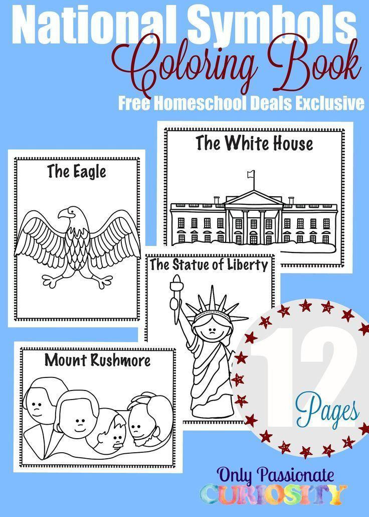 Free National Symbols Coloring Book Instant Download Homeschool