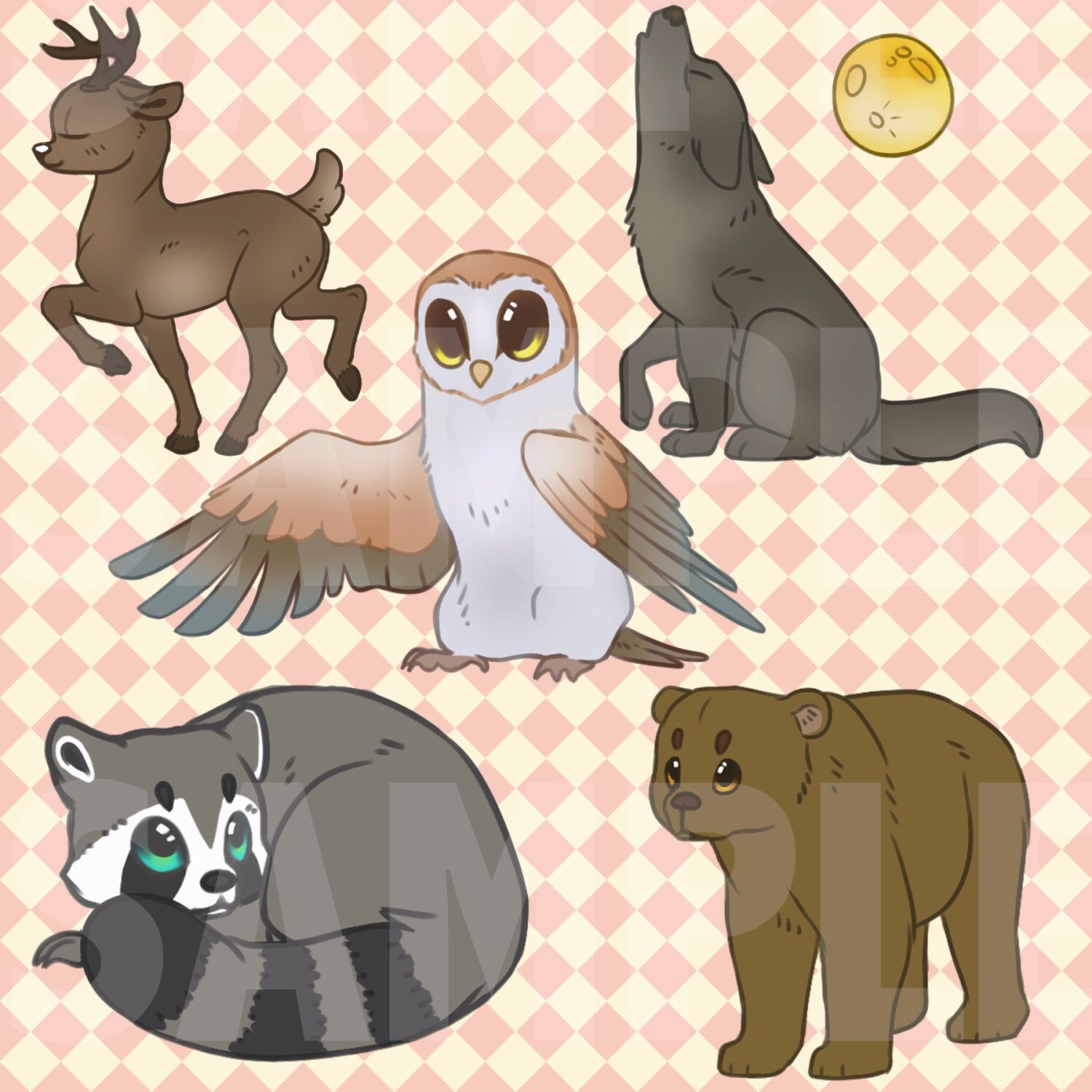 Forest Animals Clip Art / Clipart INSTANT DOWNLOAD Owl
