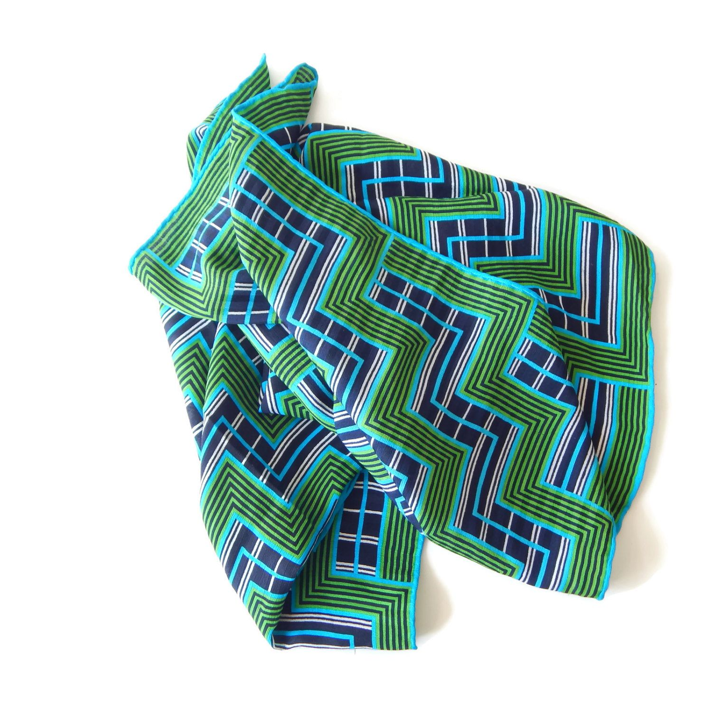 Fiorio Scarf Silk Crepe Milan Italy Geometric Mod Signed