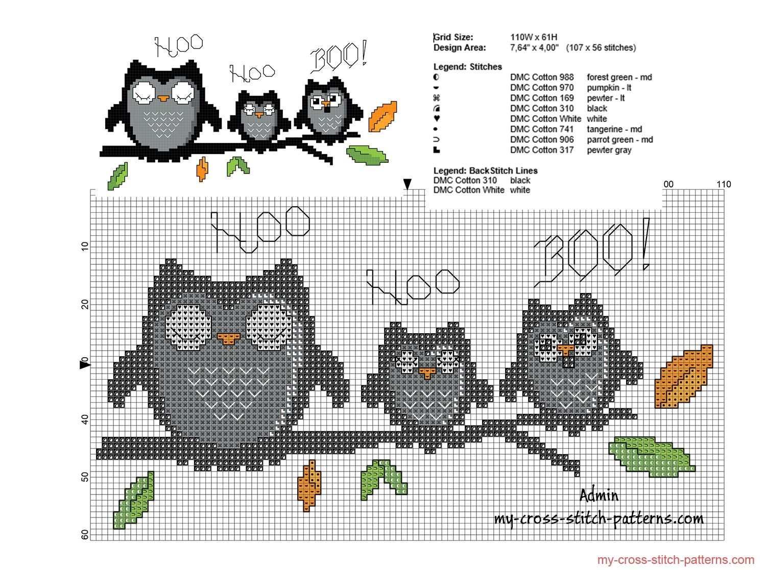 OWL Cross Stitch Kit with threads or CHART only 28