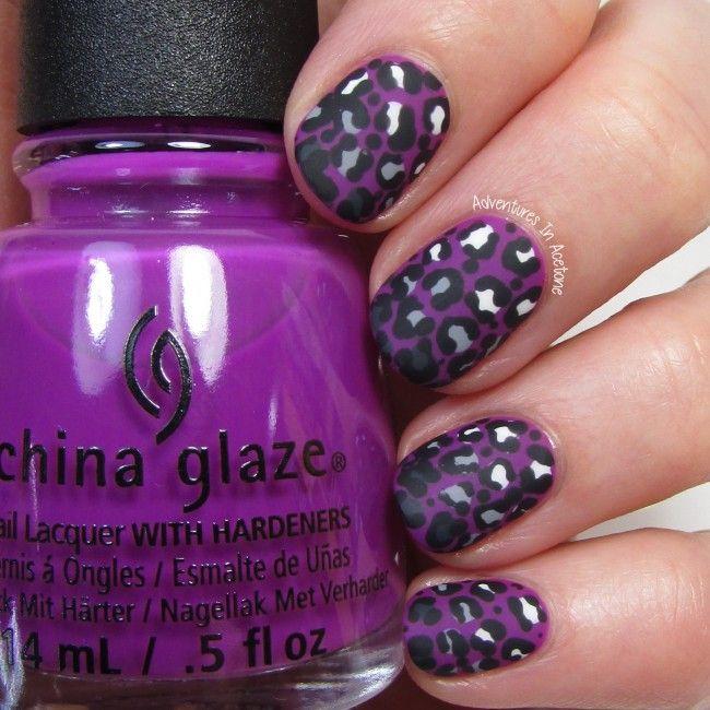 Violet Leopard Gradient Nail Art 2 #nailart #animalprint