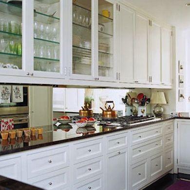 Mirrored Backsplash Trick Of The Eye Galley Kitchen Design Ideas