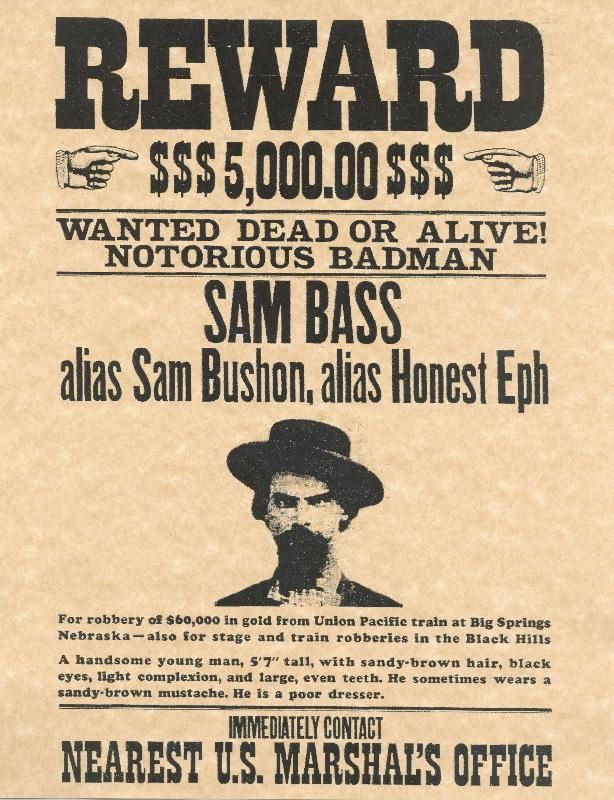 Texas Outlaws Sam Bass Wanted Poster – Real Wanted Poster