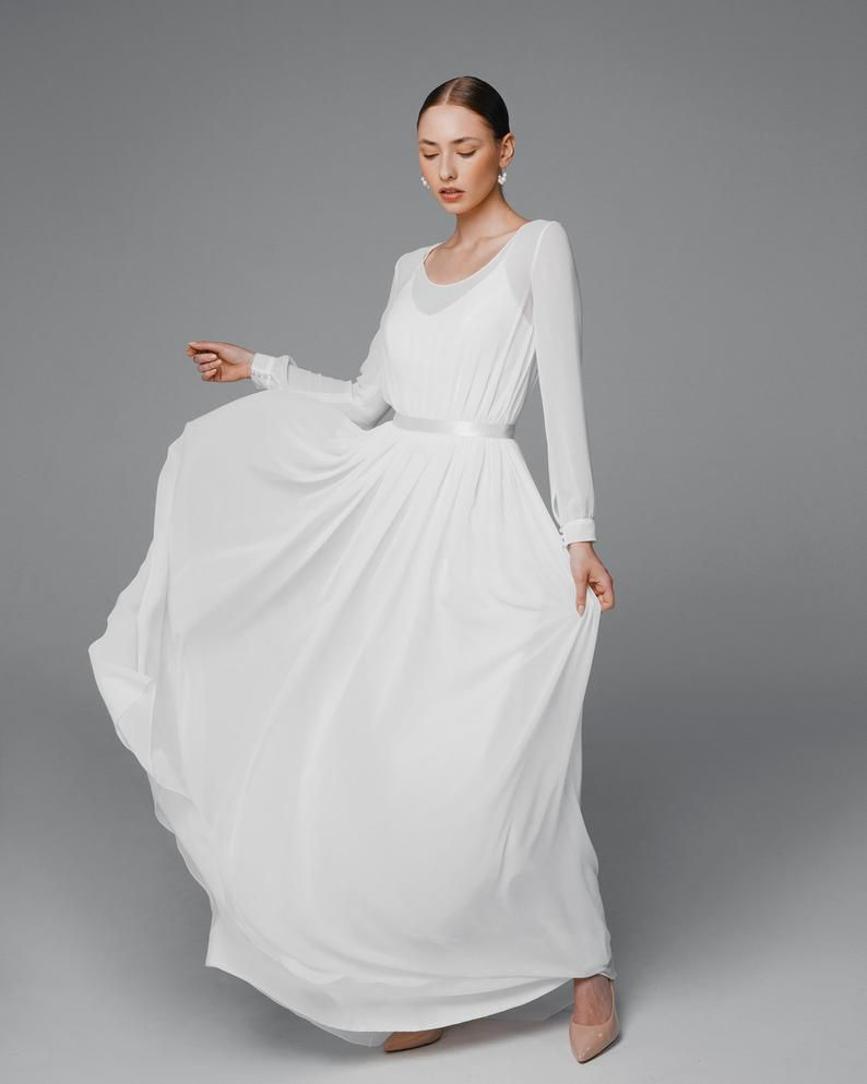 Long Sleeve Rustic Wedding Dress Simple Wedding Dress Etsy In 2020 Etsy Wedding Dress Wedding Dresses Simple Wedding Dresses