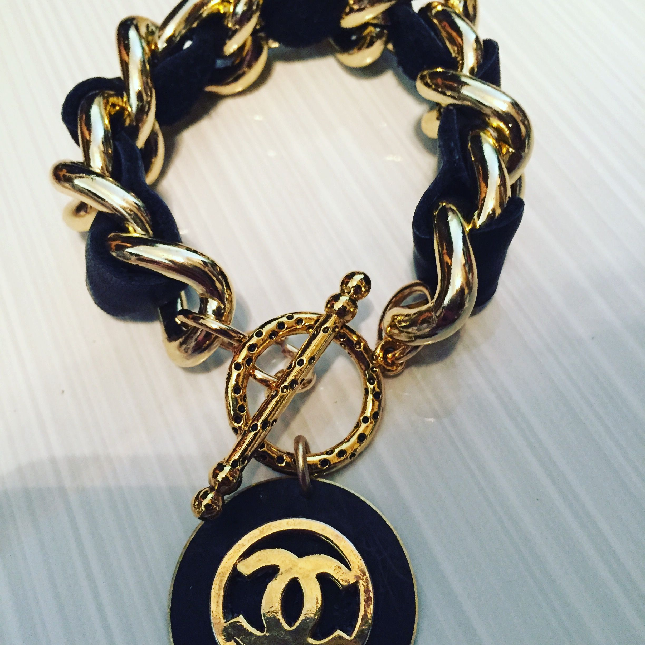 I Just Created This Fab Chunky Leather And Chain Bracelet With A