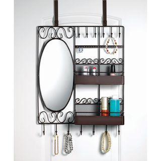 Home Basics Over The Door Vanity Scroll Jewelry And Cosmetic Organizer |  Overstock.