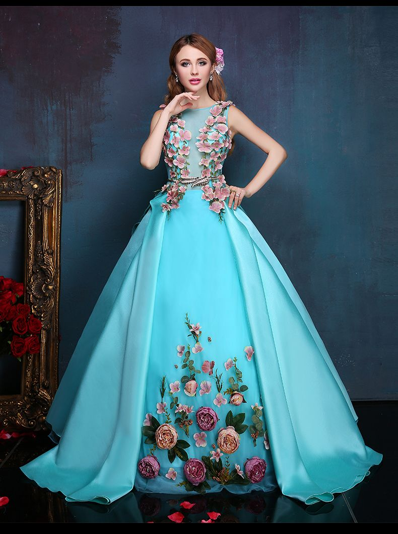 Real luxury light blue silk flowers long ball gown medieval