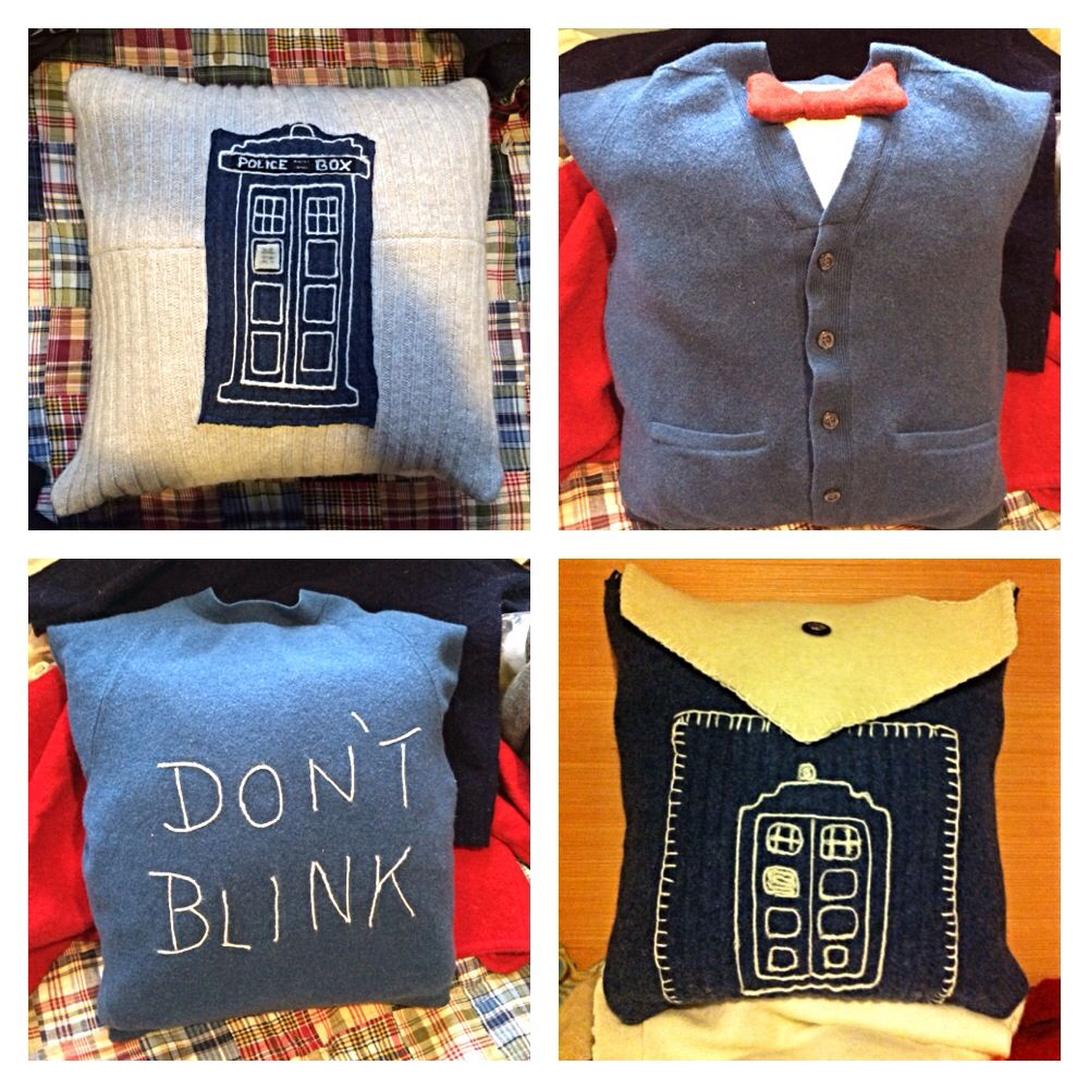 Dr. Who pillows via the sweater upcycle-ry