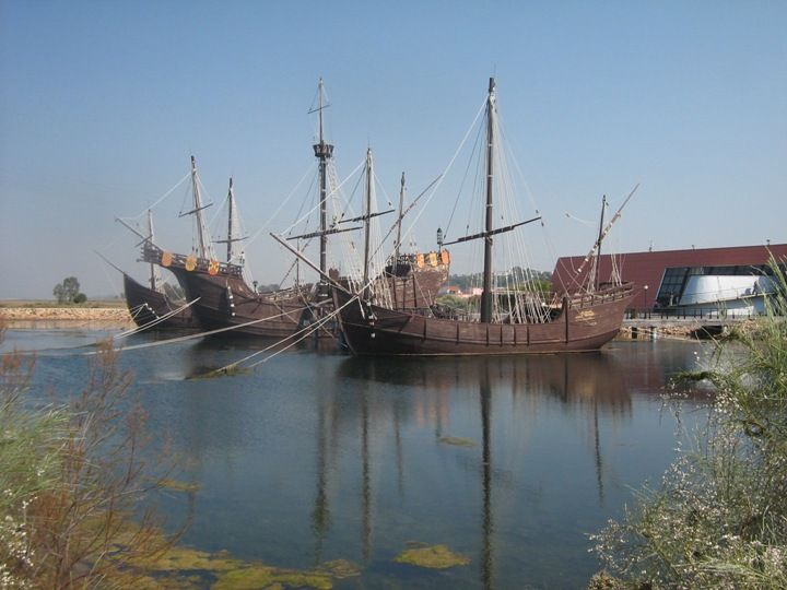"Pinta, Niña and Santa María ship docked in the ""Muelle de Carabelas"" in Palos de la Frontera, Huelva"