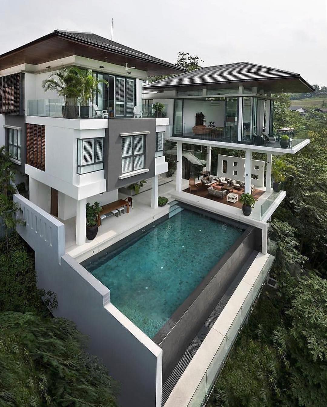 Real Estate Luxury Homes On Instagram Awesome Home Built Around Nature In Kuala Lumpur Would You Cool House Designs House Exterior Modern House Exterior