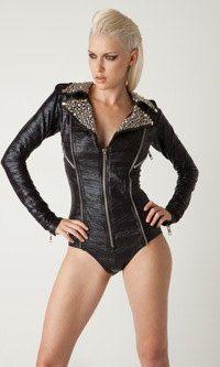 Black Moto romper bodysuit with Silver studs on by laroxxhollywood ... 98ef5bd2b