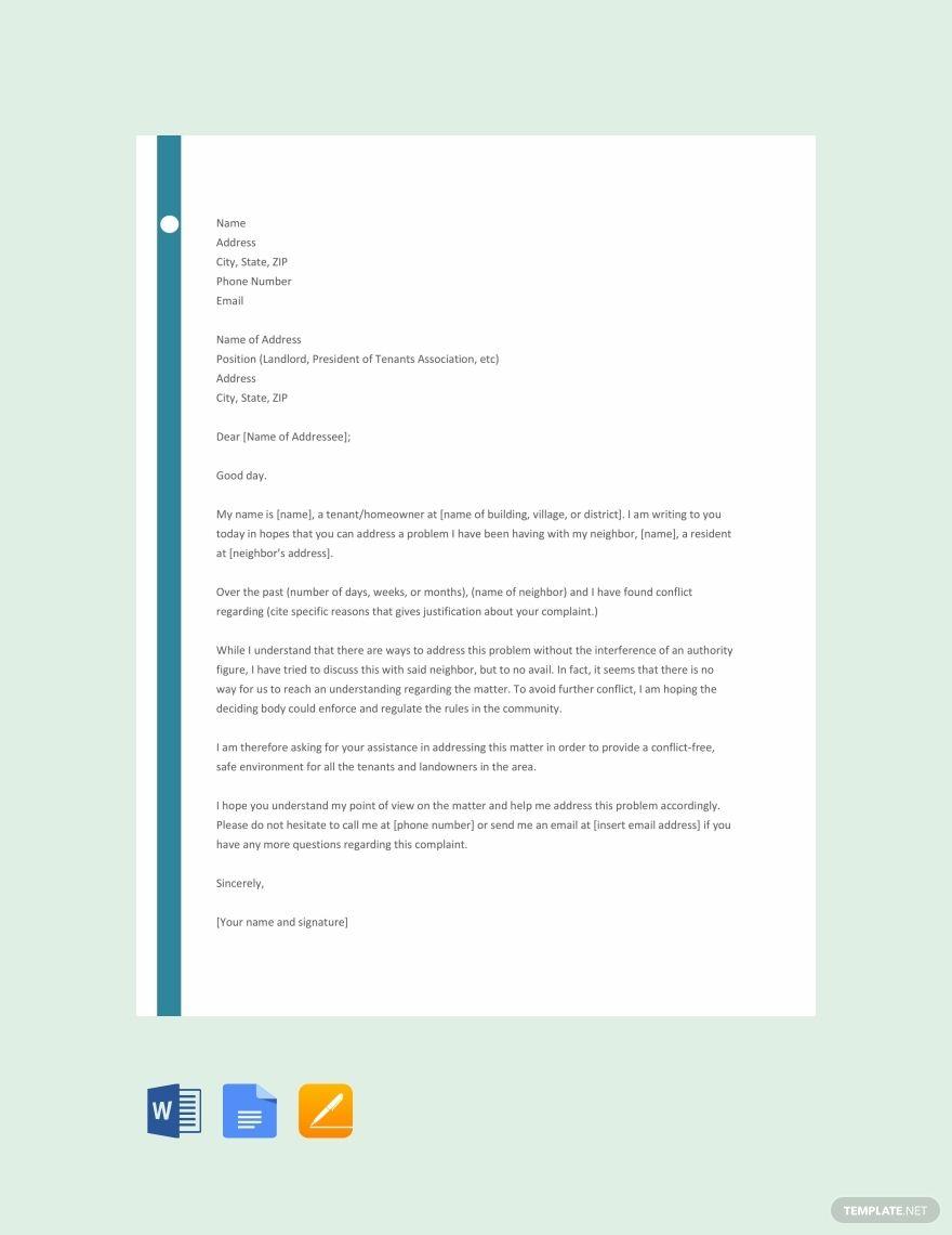 Free Complaint Letter Against Neighbour  Lettering, Templates