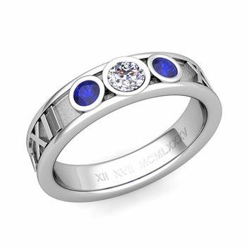 Custom Roman Numeral Wedding Band in 3 Stone Ring Setting
