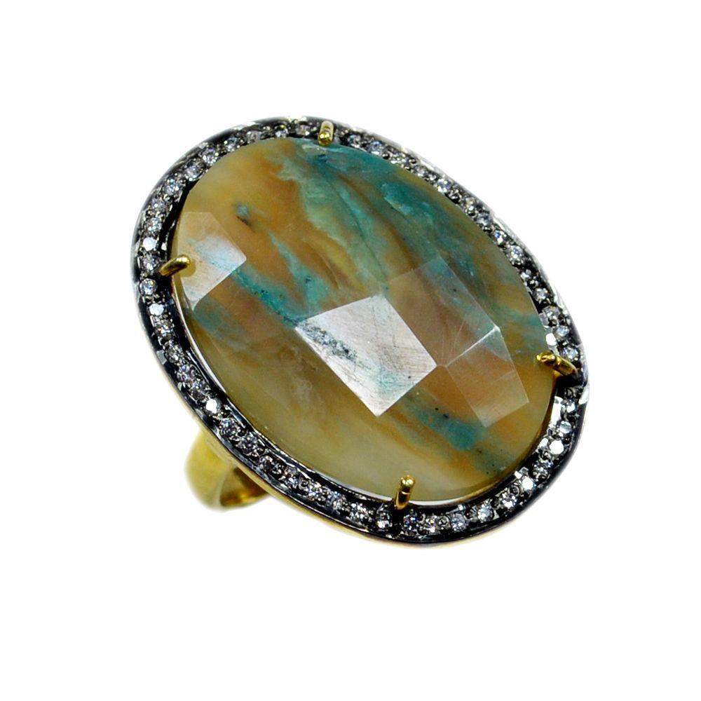 Silvestoo India Peru Opal & Cubic Zircon Gemstone 925 Sterling Silver Vermail Ring US Sz 6.5 Adjustable PG-100715   https://www.amazon.co.uk/dp/B06XXG7TFY