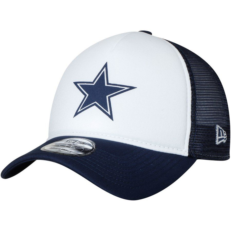 28235afac114e9 Men's Dallas Cowboys New Era White/Navy Trucker Hit 9FORTY Adjustable Hat,  Your Price: $23.99