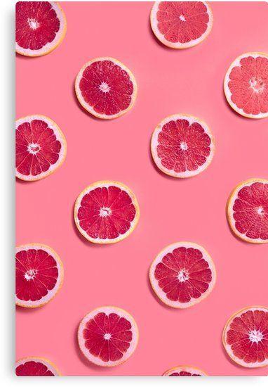 'Tropical Pink Fruit Slices' Canvas Print by newburyboutique