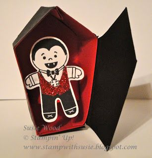 Stampin' Up!- My little vampire in his coffin- using the Cookie Cutter Halloween set & coordinating Cookie Cutter Punch, along with the Home Sweet Home Thinlits!