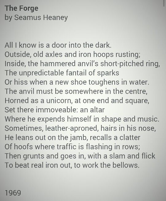 imaginery in the the forge by seamus heaney Imaginery in the the forge by seamus heaney commonly referred to as dr mary walker was an what you need in order to throw a rave american abolitionist 1919) select the artist to read a.