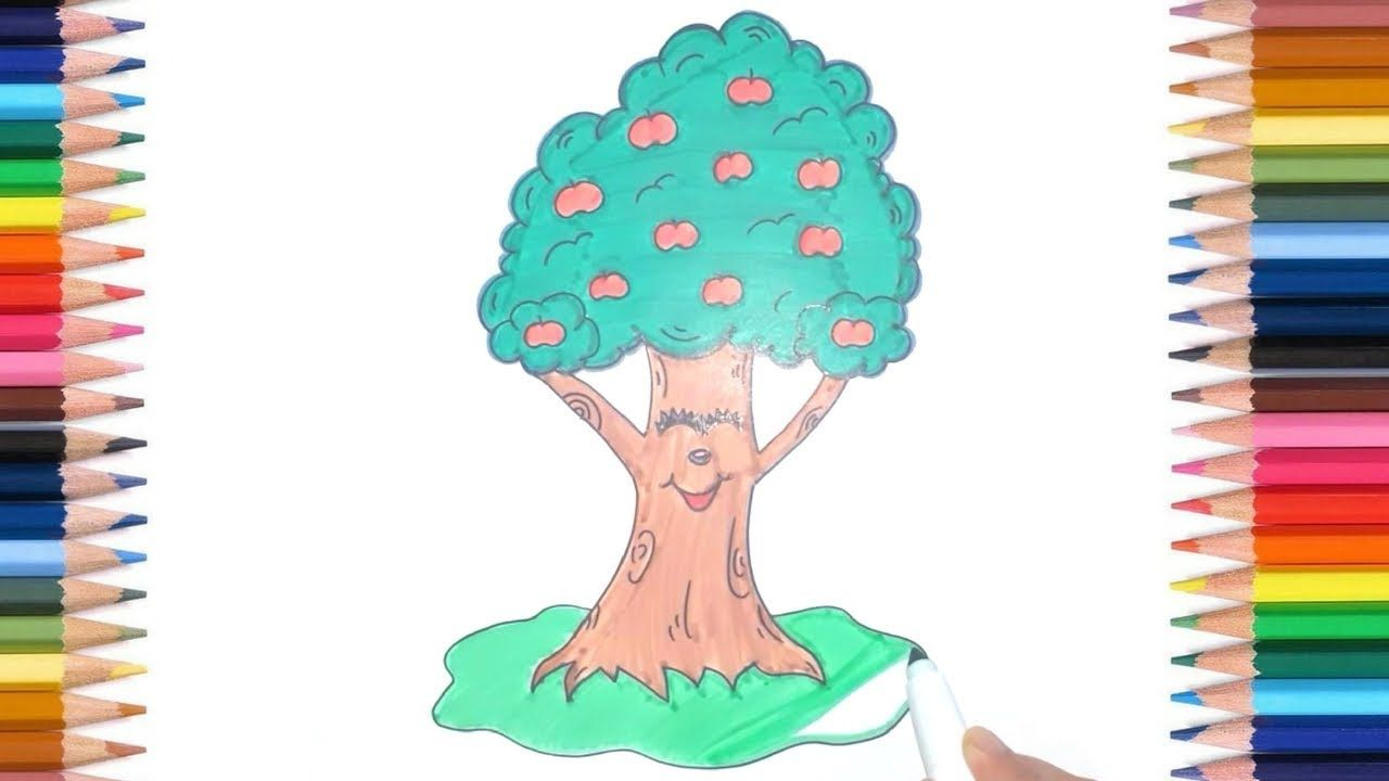 How To Draw Apple Tree Step By Step For Kids Easy Kids Apple Tree
