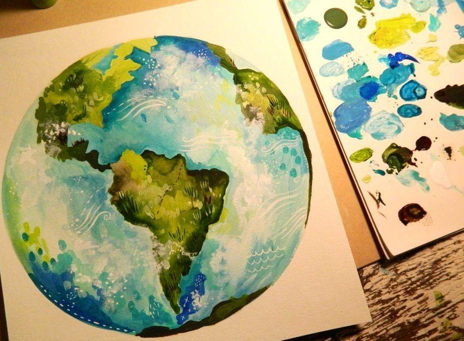 Earth Globe Artwork By Katie Daisy Www Katiedaisy Com Workout In