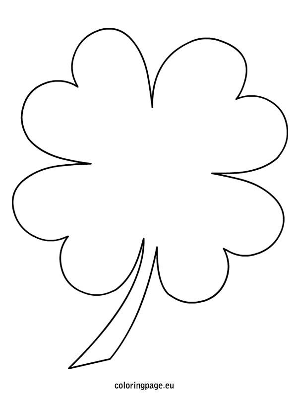 4 Leaf Clover Coloring Pages Clover Leaf Flower Template