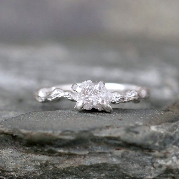 Raw Diamond Twig Inspired Ring - Sterling Silver Branch Ring - Raw Diamond Engagement Rings - Rough Uncut Conflict Free Diamond - Wedding