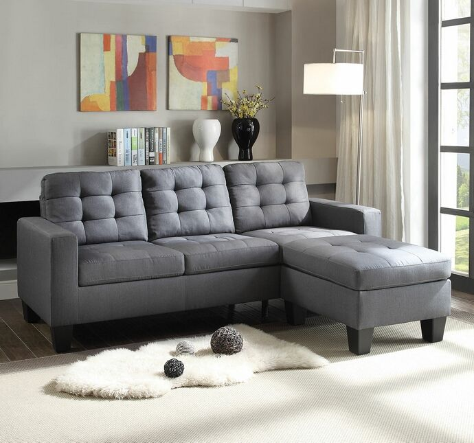 2 Pc Earsom II Collection Grey Linen Fabric Upholstered Sectional Sofa With Reversible  Chaise. Measures