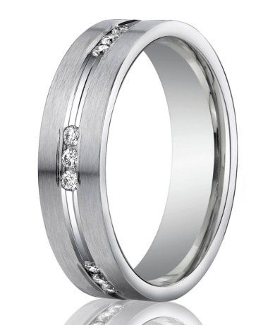 Designer 950 Platinum Channel Set Diamond Mens Wedding Ring 6mm
