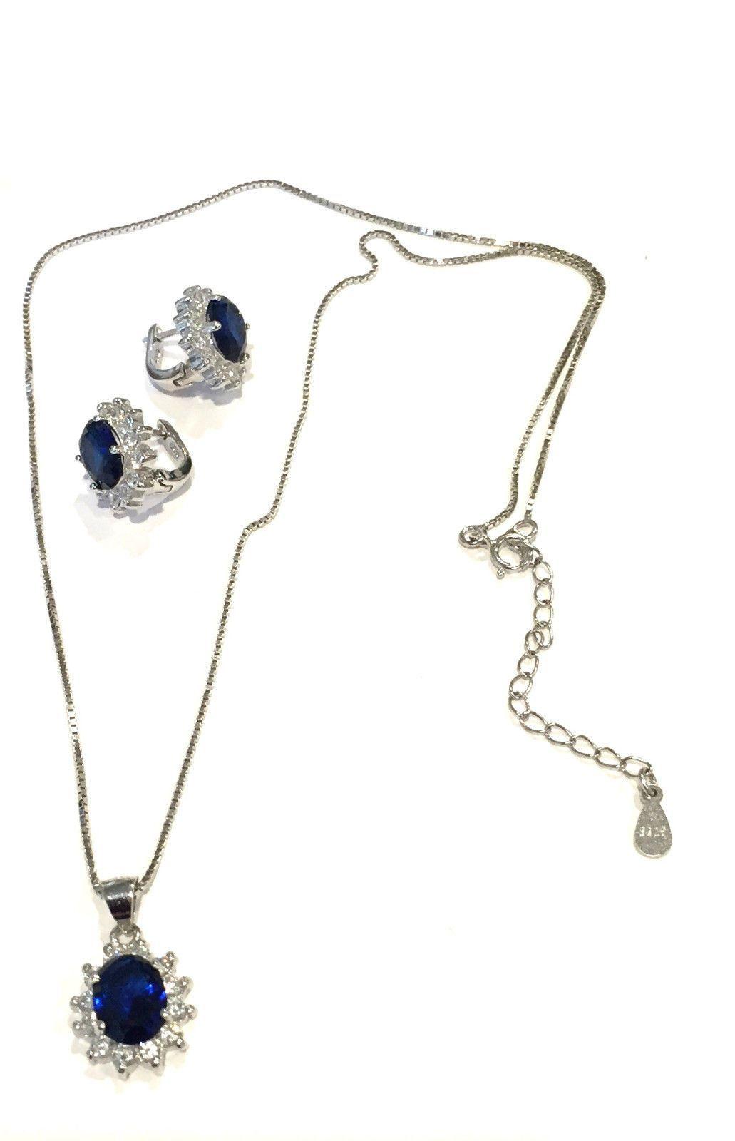 Sterling silver pendant necklace earrings set women oval