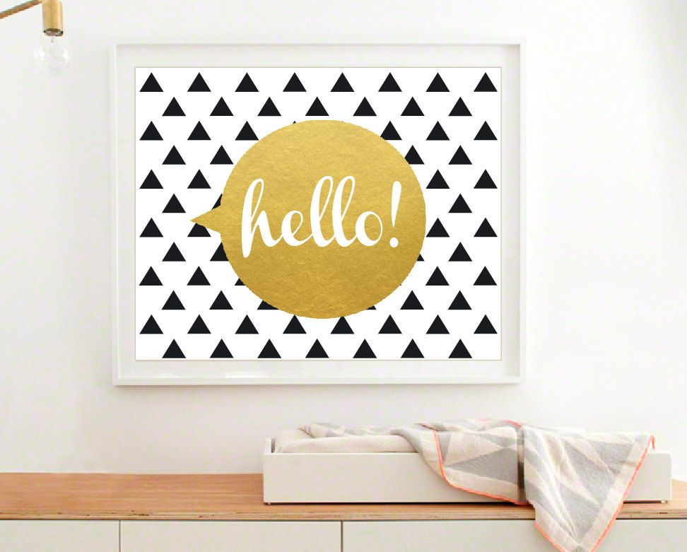 Triangles Print, Modern Nursery Wall Art, Gold Art Print, Hello Wall ...