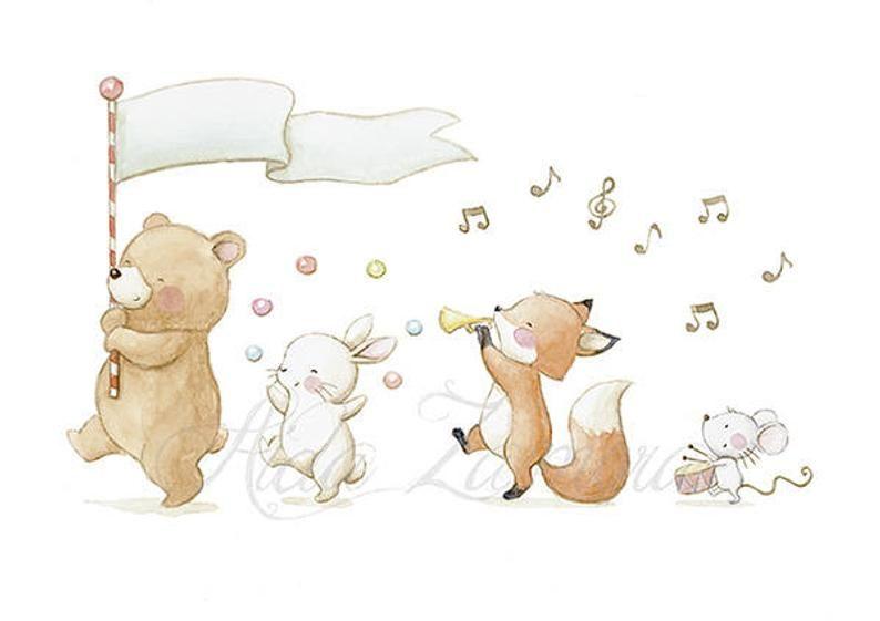 Babyfolie MUSIC BAND Printed Sheet, Animal Illustration, Kindertisch, Tierparade. Aida Zamora #albumart