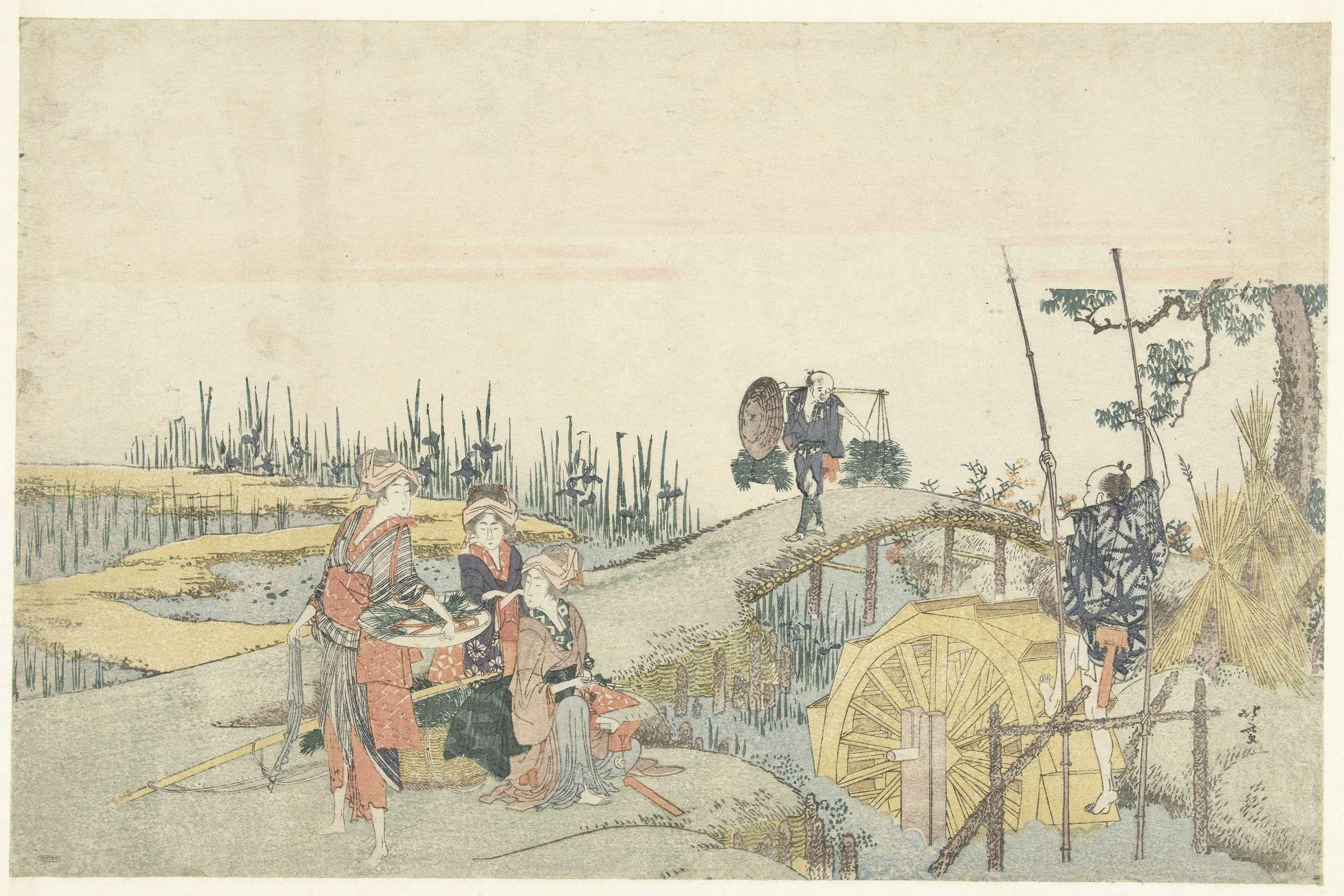 Katsushika Hokusai | Rijstplanters, Katsushika Hokusai, 1800 - 1805 | Landschap met rijstvelden en rivier met bloeiende irissen. Op de voorgrond een man een waterrad ter irrigatie aandrijvend; langs de waterkant drie vrouwen, waarvan één met schaal waarin rijstplantjes; op de achtergrond een man een juk dragend waaraan meer rijstplanten.