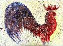 Gallo. Rooster. Técnica mixta sobre tela - Contemporary Artist