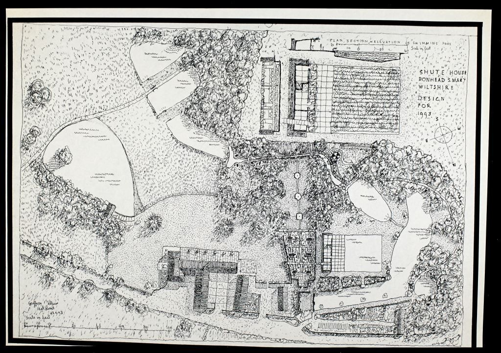 Geoffrey Jellicoe Collection A Drawing Showing His 1993 Design For Shute House Donhead St Mary Wiltshire Ar Landscape Drawings Landscape Vintage World Maps