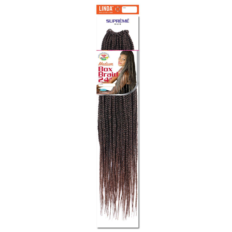 Box Braids 24 Inch Crochet Hair Ombre Black Med Auburn Crochet