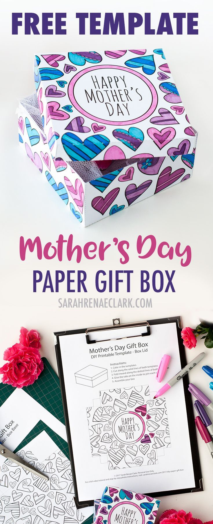 Download this free printable paper gift box template to