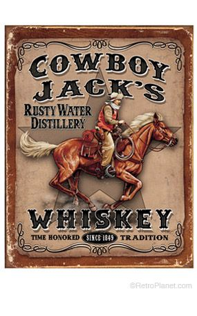 Whiskey Metal Ad Sign Vintage Cowboy Western Picture Bar Cave Wall Decor Gift