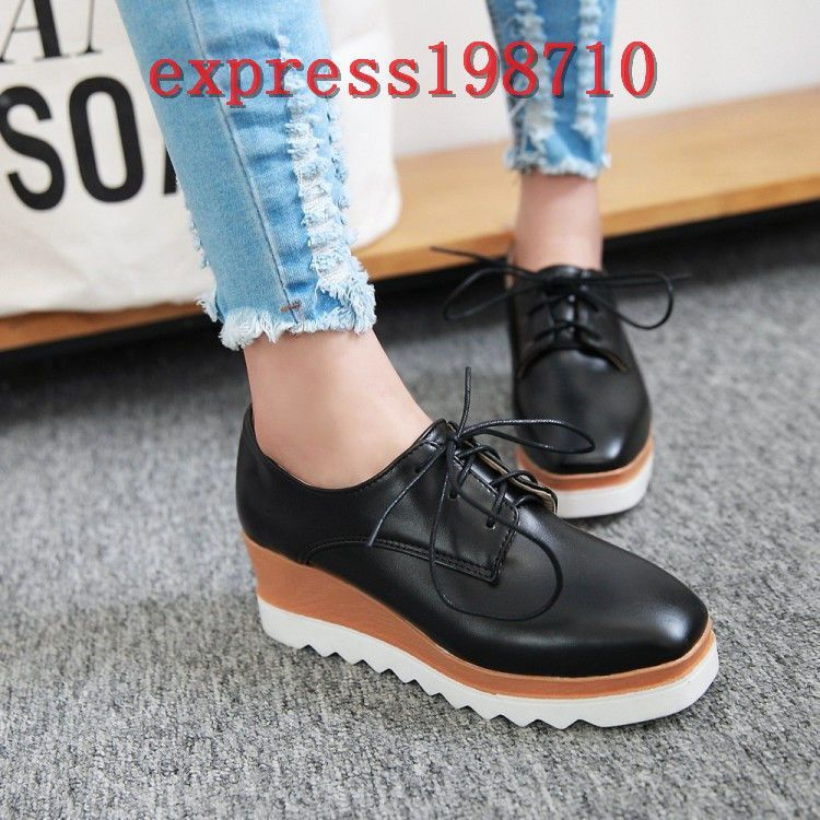 d4879445a2bb5 Hot Womens Wedge Mid Heels Platform Lace Up Punk Brogue Solid Oxford Shoes  Size