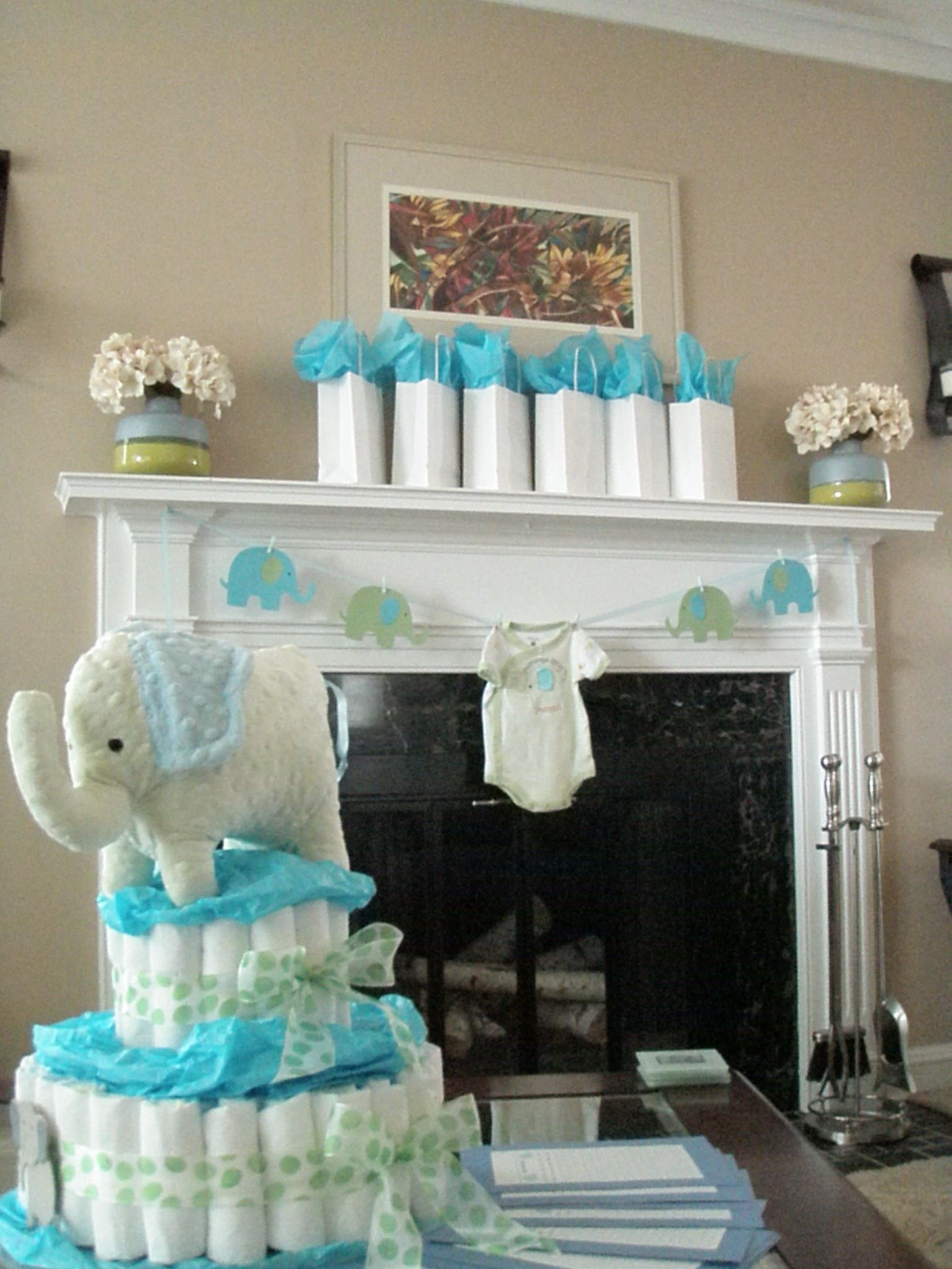 Blue and green elephant baby shower decorations elephant Elegant baby shower decorations