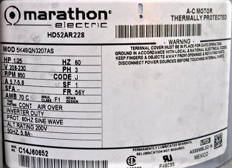 MARATHON MOTORS Motor,1 HP,1725 RPM,115//208-230V,Auto 5KC49PN0164X