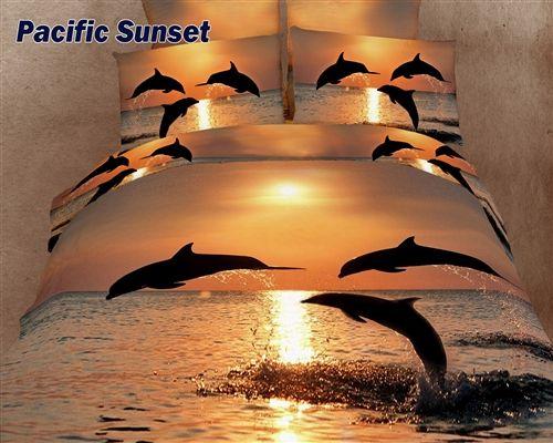 Pacific Sunset, King Duvet Cover Animal Themed Bedding Set, DM426K