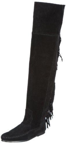 Minnetonka Women's Over-The-Knee Fringe Boot,Black,5 M US Minnetonka