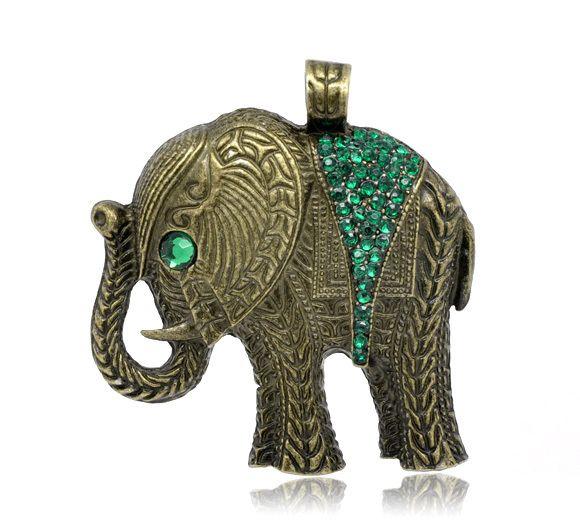 Bronzener Elefant m. grünen Strasssteinen,Anhänger von Nickys Materialshop auf DaWanda.com