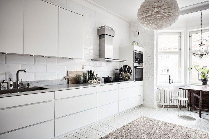 Lampara De Plumas En La Cocina Apartamento Escandinavo Cocinas